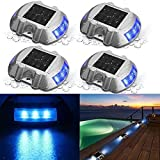 SOLMORE 4 Pack Solar Deck Lights LED Dock Light Solar Lights Step Road Path Light Waterproof Security Warning Driveway Lights for Outdoor Pool Fence Patio Yard Home Pathway Stairs Garden (Blue)