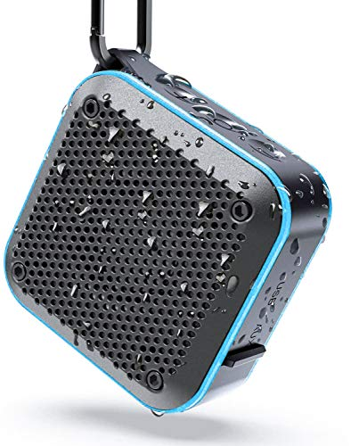 LEZII IPX7 Waterproof Shower Bluetooth Speaker, Portable Wireless Outdoor Speaker, Support TF Card Aux-in FM Radio, Hook for Home Pool Beach Bicycle Boating Bag Hiking, 12H Playtime (Blue)