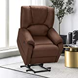 Esirght Electric Power Lift Recliner Chair Sofa with Massage and Heat for Elderly, Microfiber Recliner Chair with Side Pockets & USB Port, Brown