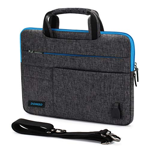 DOMISO 14 Inch Waterproof Laptop Bag Briefcase Carry Bag Shoulder Bag with USB Charging Port for 14 Inch Acer Aspire 1 Swift 3 / HP Stream 14 Pavilion 14 / Lenovo / Asus Blue Zip