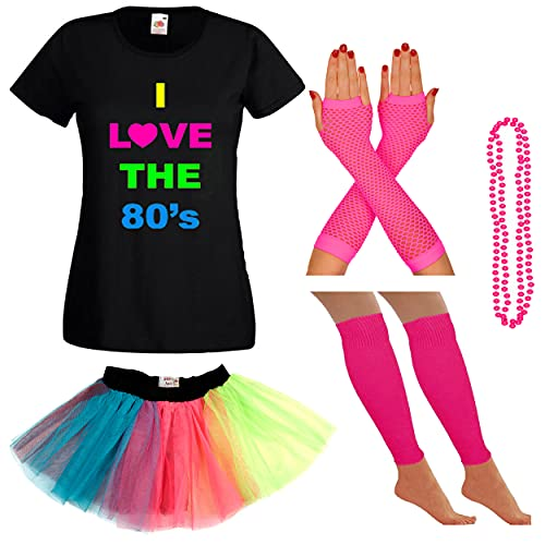 I Love the 80s T-shirt, Skirt and Accessories Set for Women. Sizes 16, 18 available
