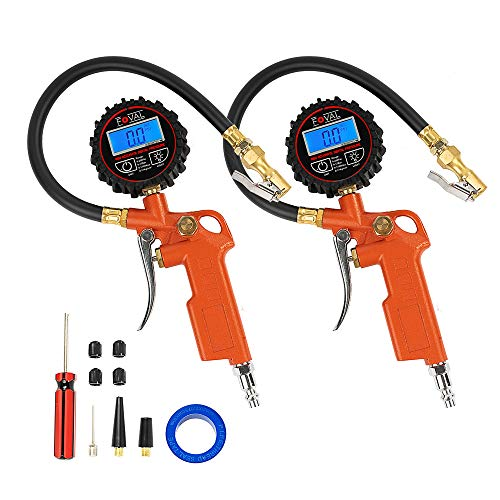 FOVAL [2 Pack] Digital Tire Inflator with Pressure Gauge 250 PSI Air Chuck Compressor Accessories with Rubber Hose and Quick Connect Coupler for 0.1 Display Resolution