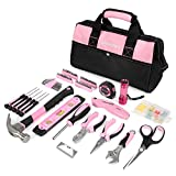 WORKPRO Pink Tool Kit, Lady's Home Repairing Tool Set with Wide Mouth Open Storage Bag