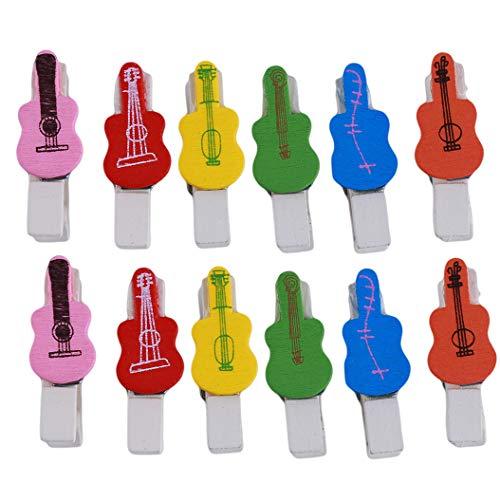 ZXDDD Niedliche Gitarrenform Bastelclip Bunte Mini-Holzpflock-Papier Holzbastelclips Fotopapierpflock-Fotoclips Hochzeitsfeier Heimdekor