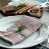 Linen & Cotton 4 x Luxus Stoffservietten ULLA – 100% Leinen (43 x 43cm) Natur/Rot - 4