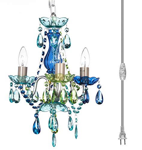 The Original - Lámpara de araña gitana (3 unidades, color azul claro, verde y azul, con cristales acrílicos, multicolor