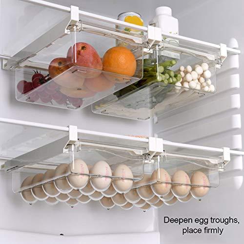 Refrigerator Drawer Storage Box Food Storage and Sorting Drawer Type Fridge Organizer Space Saver Stackable Transparent Fridge Shelf Holder Storage Box Egg carton
