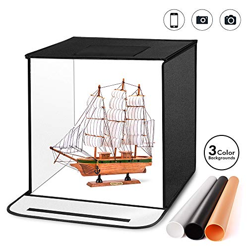 Photography Light Box, Portable and Foldable Photo Studio Box Tent 16x16x16 Inches Tent with 5500K...