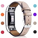 Hotodeal Replacement Leather Band Compatible for Charge 2, Classic Genuine Leather Wristband Metal Connector Watch Bands, Fitness Strap Women Men Small Large (Beige- Silver Buckle)