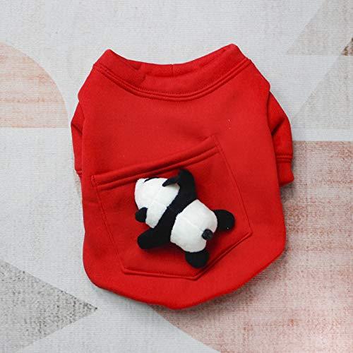 WANGSHI Ropa para Mascotas Suéter De Muñeca De Año Nuevo Más Terciopelo Engrosamiento Pelea De Gatos Teddy Perros Pequeños Y Medianos Suéter de Bolsillo Rojo-muñeca Panda L