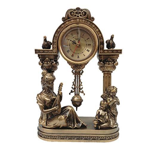 GZQDX Vintage Table Reloj Péndulo Relojes Dorado Estatua Musical Tema Móvil Sala de la Sala Decoración de Cuartos de galón de Resina Aguja Antigua Escénica WF (Color : B)