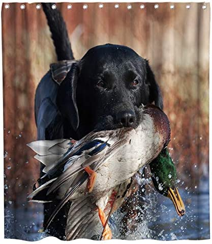 Funny Dog Hunting Max 60% OFF Duck Theme Same day shipping Fabric B Curtain Sets Shower Family