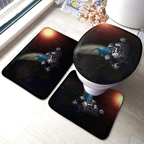 xinping Battlestar Galactica - Juego de 3 alfombrillas de baño y baño absorbentes