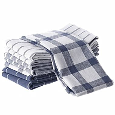 Moonworld Kitchen Towels Dish Cloth Machine Washable Cotton Kitchen Dishcloths Towel Tea Towels (18 x 27 Inch) (8 Pack) HK1012