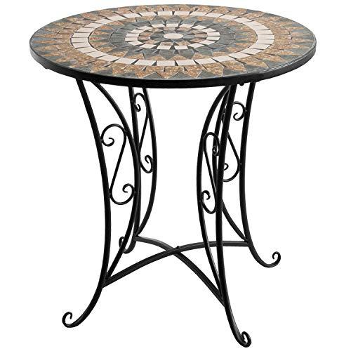 Wohaga® Mosaik Gartentisch rund Ø70x71cm Braun/Grau Mosaiktisch Beistelltisch Bistrotisch Balkontisch Eisen Keramik