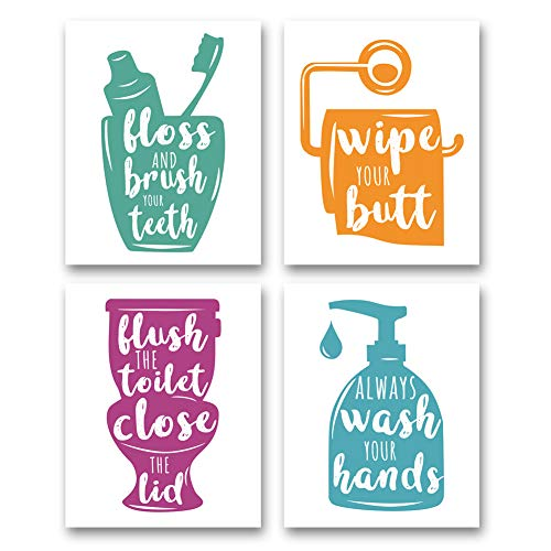 """XUN Watercolor Bathroom Quote Art Print- Multicolor Bathroom Rules Sign Canvas Wall Art-(8""""X10""""X4 Pieces, Unframed)-Perfect for Baby Washroom Decoration"""