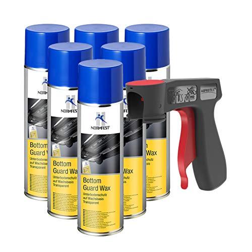 AUPROTEC Unterbodenschutz Wachs Steinschlagschutz Bottom Guard Wax Spray 6X 500ml + 1x Original Pistolengriff