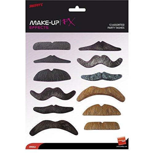 Amakando Kit de 12 Fausses Barbes Moustaches Différentes Couleurs 12 pièces Accessoire Grand-père Monsieur Papi Biker Viking Déguisement Carnaval
