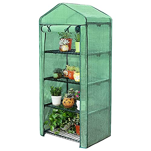 Taylor & Brown 4 Tier Mini Greenhouse Cold Frame Reinforced Green PE Plastic Outdoor Garden Steel...