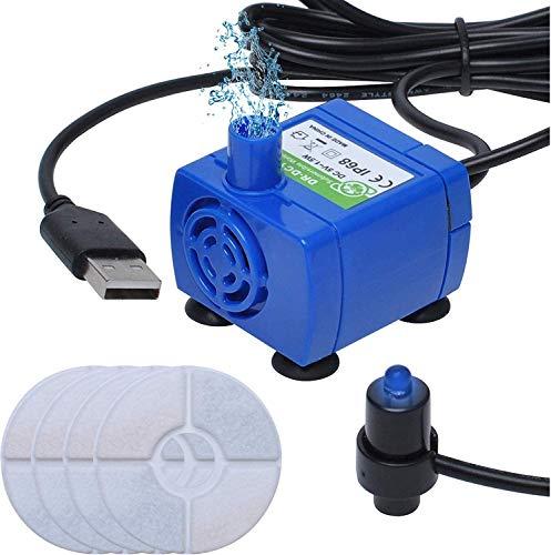 Bomba de Agua para Fuente de Mascotas con Luces LED Alimentada por USB para Fuente de Agua para Mascotas de 85 oz / 2.5L con 4 Filtros de Fuente Poweka para Gatos y Perros con Resina y Carbón