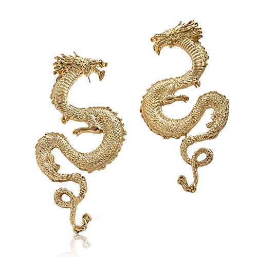 INTO ZBY Dragon Stud Earrings Gold Plated Cool Dragon Earrings Punk Jewelry Earrings for Girls/Women