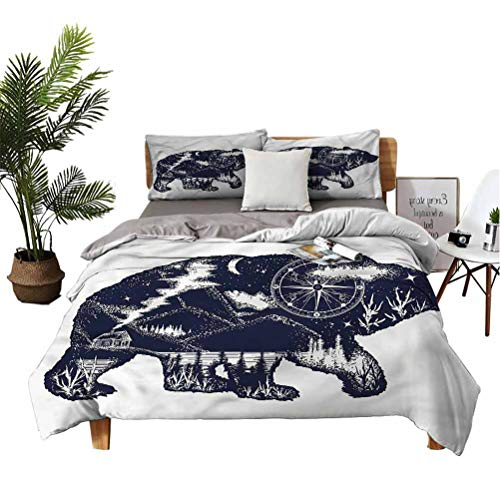 Cabin 3 Piece Bed Sheet Set Bear Great Outdoors Artistic College Dorm Room Bed Sets Queen
