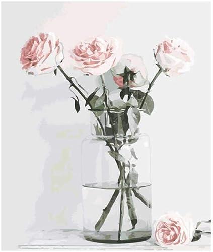 Jjyyh Peintures par Numéros Plusieurs Roses dans Un Vase 80X100Cm Bricolage Peinture à l'huile Linen Toile pour Adultes Les Enfants Débutants des Gamins' Jouet Numéros Peinture par Décoration Murale