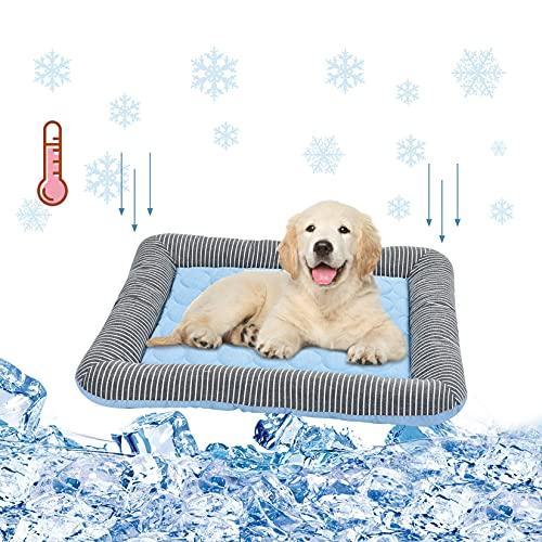 Pinji Cama Alfombra para Mascotas Muy Fresco de Viscosa para Verano Cojín para Perros Gatos Transpirable para Coche o Hogar #1 XL