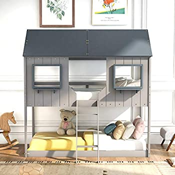 Wood Bunk Bed Frame Twin Over Twin Size House Shaped Low Bunk Beds for Kids and Toddlers Grey
