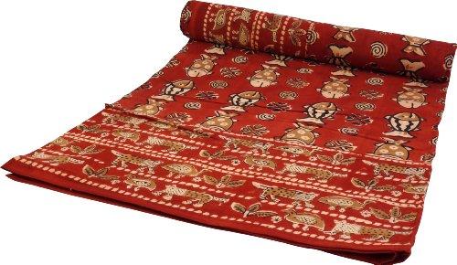 Guru-Shop Blockdruck Tagesdecke, Bett & Sofaüberwurf, Handgearbeiteter Wandbehang, Wandtuch Rot, Mehrfarbig - Design 14, Baumwolle, Größe: Single 150x200 cm, Tagesdecken mit Blockdruck