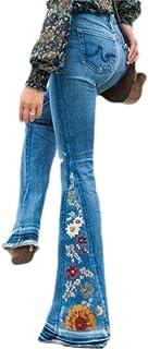 Macondoo Womens Flare Pants Bell Bottom High Waist Embroidery Denim Jeans
