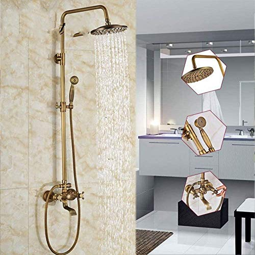 Juego de grifos de ducha de latón antiguosin sistema de torre de pared Juego de baño de ducha mezclador