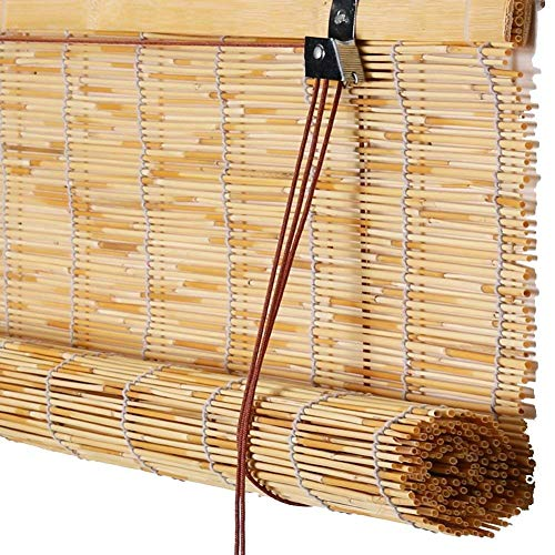 Giow Cortina de lámina Retro Cortada Persianas enrollables de bambú, persianas de Paja de elevación a Prueba de Moho Que filtran el Sol