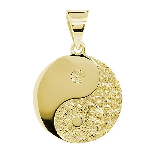 Large Yin Yang Medallion Charm Pendant, Two-sided,Reversible, 1 inch in 14K Yellow Gold