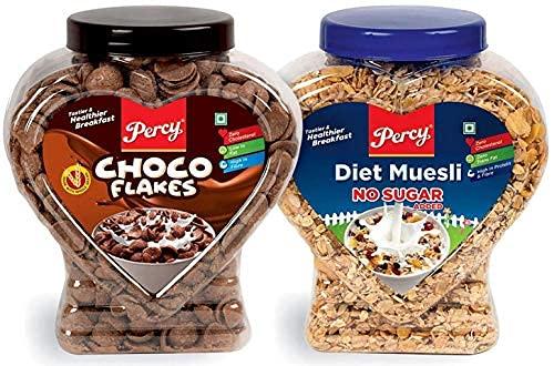 Percy Energy Protein Diet Muesli and Choco FlakesCombo of 2 Jars [Crunchy Breakfast Multigrain Cereal High in Iron Vitamin B Fibre] Jar 1200 g