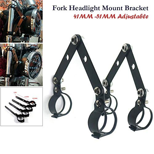 Staffa faro 41mm-51mm Fork Black Footlight Mount Stacket Cafe Adattatore per lampada a testa morbida (Color : Black)