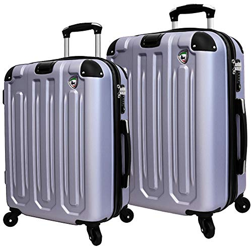 Mia Toro Italy Regale Composite Hardside Spinner Luggage 2pc Set, Grey