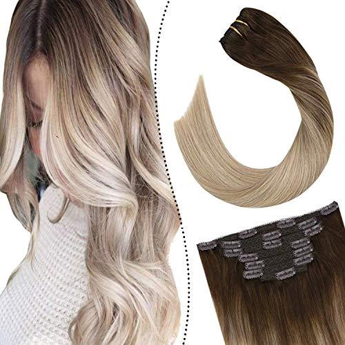Ugeat Naturliche Haarverlangerung Clip Set Echthaar Remy Tressen 7Stuck/100Gramm Easy Fit Seamless Haaree Clips 55 cm (Dunkelbraun bis Aschblond und Platinblond #4/18/22)