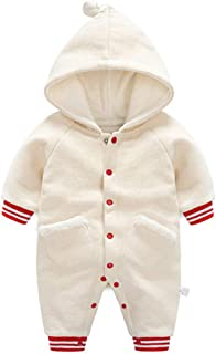 Zhhlinyuan Newborn Baby Boys Girls Hooded Jumpsuit - Long Sleeve Thickening Romper Clothes Winter Coat