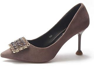 ポインテッドトゥ ハイヒール レディース ピンヒール スエード 7cm パンプス ビジュー 結婚式 通勤 エレガント 小さいサイズ 靴 歩きやすい 疲れない バックル 美脚 春秋 22cm きれい セクシー 黒 パーティー