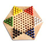 Chinese Checkers Game Set 11 inch Wooden Board Game Includes 60 Traditional Pegs Game for Adults Boys and Girls in 6 Colors for Up to Six Players