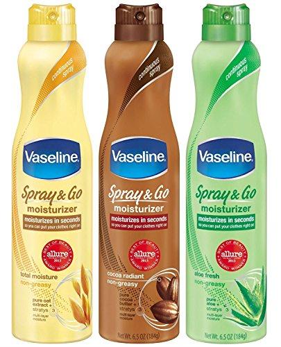 Vaseline Spray & Go Moisturizer - Pack of 3 - Total Moisture/Cocoa Radiant/Aloe Fresh - 6.5 oz Each