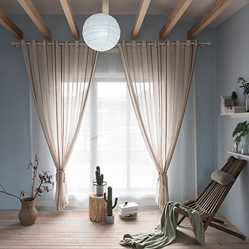 Met Love Stripe Cambric Rideaux Pour Chambre Étude Balcon Couleur Solide Rideau Produits Finis 2 panneaux (taille : L:2.5*H:2.7m)