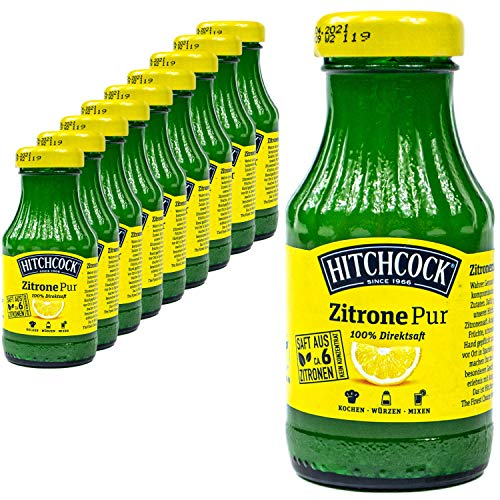 Hitchcock - 10er Pack Premium Zitronensaft Zitrone Pur 100% Direktsaft - Saft aus ca. 6 Zitronen in 0,2 Liter Glasflasche
