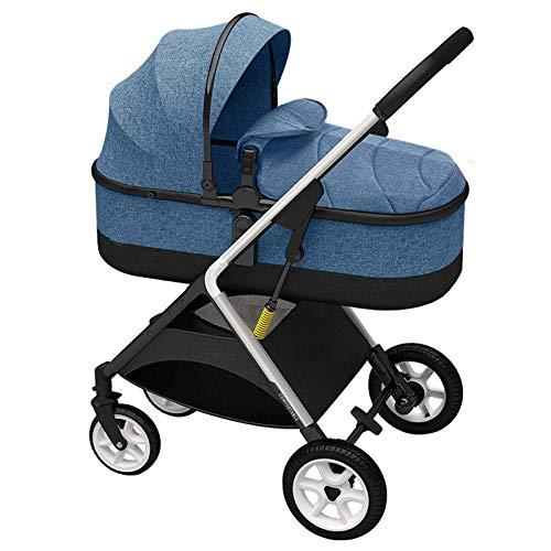 ZKK Cochecito de bebé, reclinable, ligero y portátil, plegable, alto paisaje para niños recién nacidos, viajes, caminar en el parque, salidas (color azul)