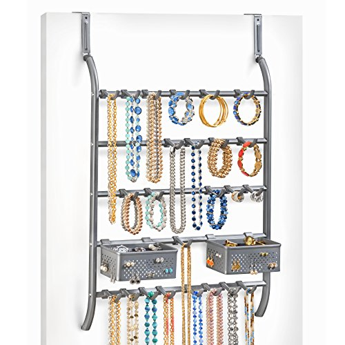 Lynk Over Door Or Wall Mount Jewelry Organizer Rack, Platinum