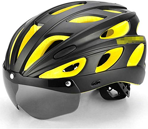 QDY Casco de Ciclismo Profesional con Gafas polarizadas, Hombre y Mujer Casco de Bicicleta de montaña/Carretera para competición de esquí de Fondo, certificación CE