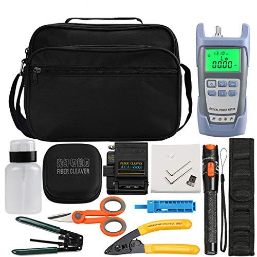Osairous Kit de herramientas de fibra FTTH con fotómetro de fibra óptica, AUA-60S, Localizador visual de defectos 10 km