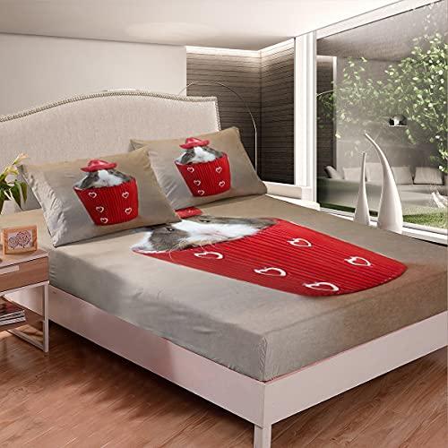 Juego de sábanas de hámster en la taza para niños, niñas, adolescentes, animales, sábanas bajeras transpirables, color marrón, 3 unidades de tamaño doble