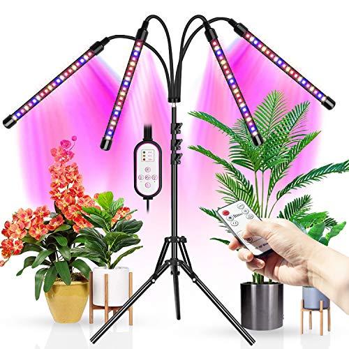 WOLEZEK LED Pflanzenlampe mit Ständer,80Leds Bodenpflanzenlicht Vollspektrum 4 Köpfe für Zimmerpflanzen,Grow Lamp Tripod einstellbar15-61Inch,Timing 4/8/12H,3 Modi&10-stufige Helligkeit,RF Controller